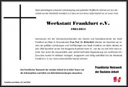 Traueranzeige Werkstatt Frankfurt 2, 10.07.2014